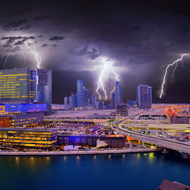 Abu Dhabi by Chris Adams - Buildings & Architecture Architectural Detail ( colour, skyline, lightning, cityscape, fstops, the mood factory, mood, lighting, sassy, pink, colored, colorful, scenic, artificial, lights, scents, senses, hot pink, confident, fun, mood factory ,  )