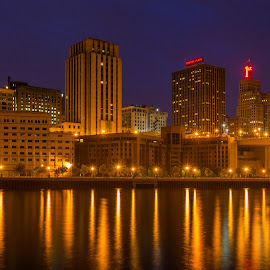St. Paul Lights at Night  by Chris Hurst - City,  Street & Park  Night ( water, lights, minnesota, reflection, long exposure, night, st. paul, river,  )
