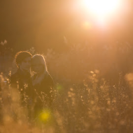 Young Love by Donna Vasquez - People Couples ( love, sunburst, sunset, grain, teenager, couple, harvest, fields,  )