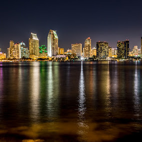 San Diego Downtown Skyline by Wenjie Qiao - City,  Street & Park  Skylines