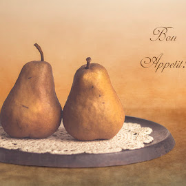 Bon Appetit! by KJ DeWaal - Typography Captioned Photos ( bon appetit, still life, fine art, pears, textured photography,  )