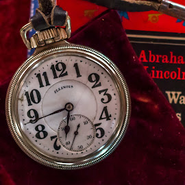 Home of  Lincoln.. by Michael Wolfe - Artistic Objects Antiques ( pocket watch, illinois, book, velvet, leather, antique,  )
