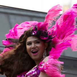 Happy by Janet Marsh - News & Events Entertainment ( parade, laugh, lady, pink,  )