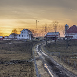 Farm Sunset by Aaron Grape-nuts - Buildings & Architecture Homes ( amish, farm, barn, sunset, country )