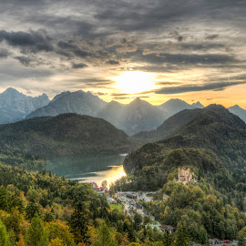 Hohenschwangau Castle by Mike Shaw - Landscapes Travel ( clouds, mountains, hdr, sunset, trees, germany, castle, travel, landscape, fall, color, colorful, nature,  )