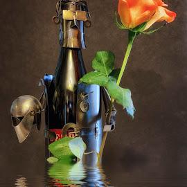 Water Knight by Trent Eades - Digital Art Things ( wine, water, love, reflection, bottle, romance, quest, flower, knight )