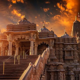 Hindu Temple by Apollo Reyes - Instagram & Mobile iPhone ( temple, religion, clouds, hindu, sky, mosque, sunset, sunrise, golden hour,  )