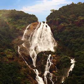 Incredible India! by Avishek Patra - Transportation Trains ( water, hills, railway, goa, fall, waterfall, rail, train, india, western ghats, landscape, karnataka )