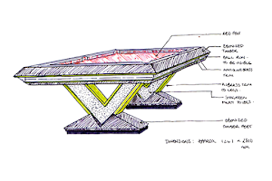 Interior Designers Sketch of a Custom Pool Table