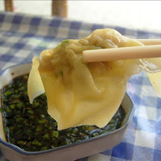 Wontons With Spring Onion, Ginger and Vinegar Dressing
