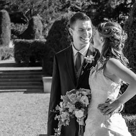 The newly married smile by Jack Brittain - Wedding Bride & Groom ( b&w, mclauglin estate, canada, wedding, ontario, bride, groom, portrait, oshawa,  )