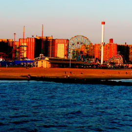 CONEY ISLAND BEACH AND AMUSEMENT PARK by Kendall Eutemey - City,  Street & Park  Skylines ( kendall eutemey, amusement park, swimmers, blue, coney island beach, wonder wheel,  )