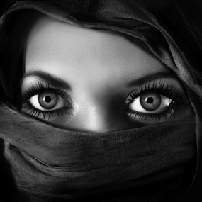 by Iva Petrović - Black & White Portraits & People ( woman girl wrapped scarf eyes black and white head scarf,  )