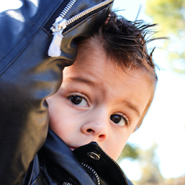 TK 2014 #6 by Stacey Cannon - Babies & Children Child Portraits ( harley, motorcycle, cute, handsome, leather, boy, fall portrait, portrait )