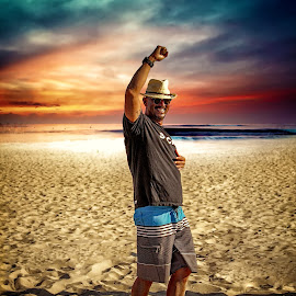 Summertime!! by Apollo Reyes - People Portraits of Men ( clouds, dunes, sky, happy, beach, sun, fedora, hat,  )