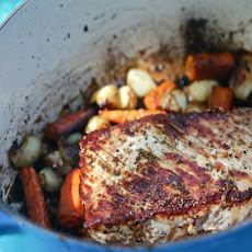 Fennel-Rubbed Pork Roast with Balsamic-Glazed Vegetables