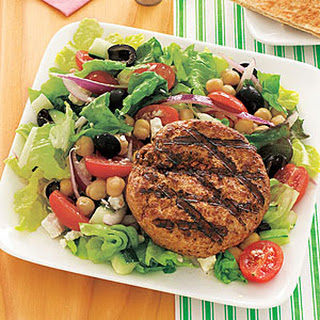Lamb Burgers with Greek Salad