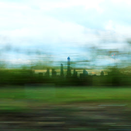 A glimpse of NYC by Diana Desrocher - City,  Street & Park  Skylines ( drive by, highway, glimpse, new york, nyc, fast, blurry )