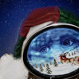 I See Christmas by Beth Schneckenburger - Digital Art People ( snow, christmas, mask, elf, eyes )