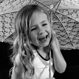 Laughter by Jennifer Brooke - Babies & Children Child Portraits ( girl, laugh, black and white, beautiful, fun, pretty, laughter,  )