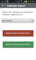 Screenshot of Australian Public Holidays