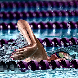 Who's Next? by Paul Moeller - Sports & Fitness Swimming ( abstract, pool, swim, meet, race, freestyle )