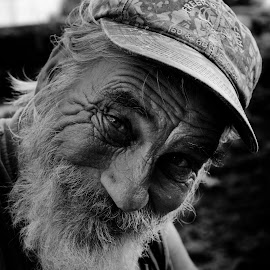 Homeless but Happy by Ken Mccartney - People Portraits of Men ( new smyrna beach, nsb, black and white, florida, homeless, white, people, man, black )