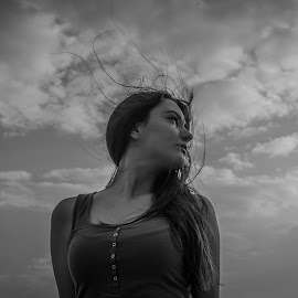 by Rino Filipovic Grcic - People Portraits of Women ( clouds, wind, girl, black and white, beautiful )