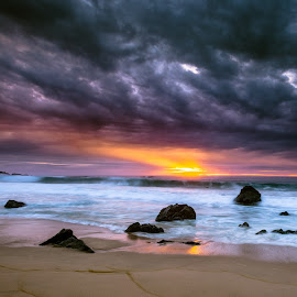 Dance With Light by Abe Blair - Landscapes Beaches ( clouds, garrapata, seasscape, big sur, waves, california, pacific ocean, home decor, ocean, beach, storm, sunset, state park, beams, landscapes, rocks, light )