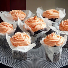 Chocolate Cupcakes with Rose Vanilla Buttercream