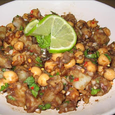 Aloo Channa Chaat (Tangy Potato Chickpea Snack)