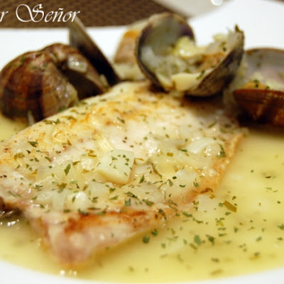Sea Bass with Clam Sauce