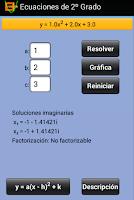 Screenshot of Ecuaciones de 2º Grado