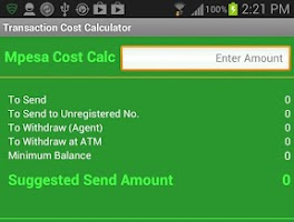 Screenshot of Mpesa Cost Calculator