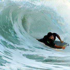In The Tube by Jose Matutina - Sports & Fitness Surfing ( surfer, california, sea, newport beach, ocean, the wedge,  )