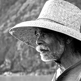 At the Beach by Barbara Brock - People Portraits of Men ( beach guy, profile of man, handsome beachcomber, man in straw hat, man with white beard )