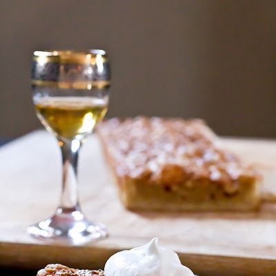 White Chocolate Maple Macadamia Tart with Nocello Whipped Cream