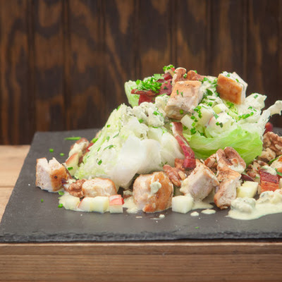 Chicken Wedge Salad with Apples, Walnuts, and Blue Cheese Dressing