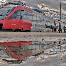 Train in Heaven! by Jesus Giraldo - Transportation Trains ( water, clouds, concept, reflection, red, heaven, art, train, transportation, beauty, people,  )