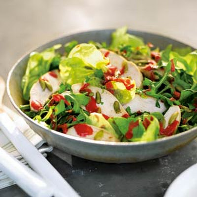 Chicken, Bibb, and Arugula Salad with Raspberry Vinaigrette