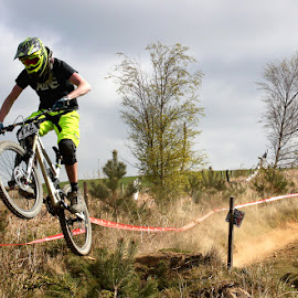 Mountain biker by Turnip Towers - Sports & Fitness Cycling ( wales, downhill, dust, mountain bike, jump )