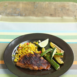 Chili-Rubbed Salmon with Zucchini and Sauteed Corn