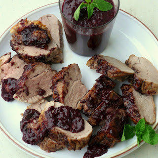 Pork Tenderloin with Blueberry-Bacon Barbecue Sauce