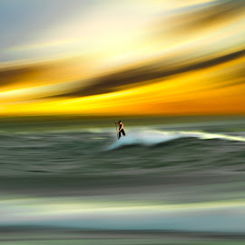 Man Vs Nature  by Josh Adamski - Sports & Fitness Surfing ( josh adamski, sky, surfer, waves, sea, light )