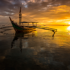 The Sunset Behind by Ade Noverzan - Transportation Boats ( nature, sunset, beach, landscape, boat )