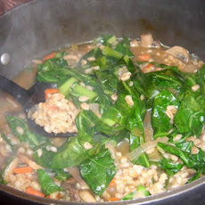 Mushroom Barley and Collards Soup