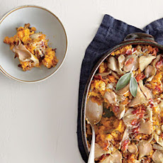 Butternut Squash au Gratin with Wild Mushrooms and Crispy Bacon