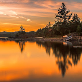 Mirror of Silence by Daniel Herr - Landscapes Sunsets & Sunrises ( nature, sunset, honefoss, silence, reflections, oyangen, lake, midnight sun, landscape, norway )