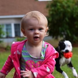 Catch Me by Deirdre Cavener - Babies & Children Children Candids ( dog chasing, running )