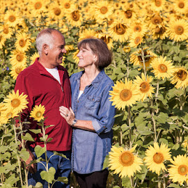 32 years by Jessica Oberlin - People Couples ( love, sunflowers, couple, photography, golden )